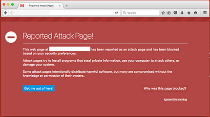 Firefox blacklist warning says Reported Attack Page