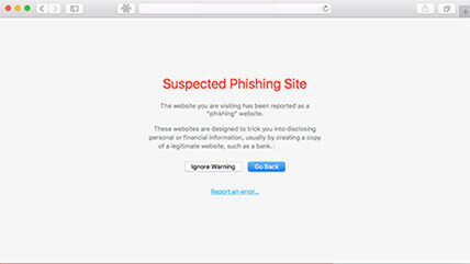 Safari phishing warning