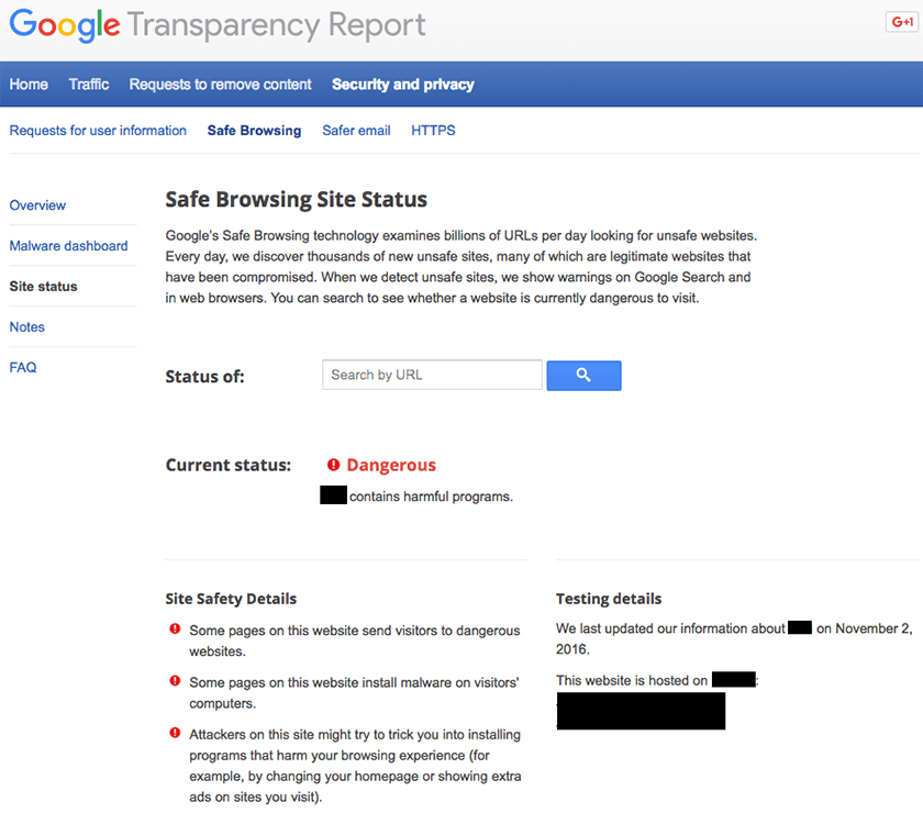 Google Blacklist Diagnostic page