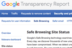 google diagnostic page safe browsing site status example image