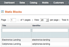 hacked magento admin static blocks screenshot