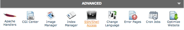 ssh access through cpanel screenshot example