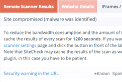 Sucuri sitecheck scan results report screenshot