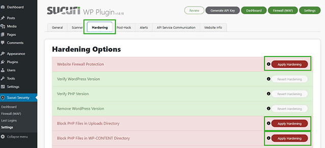 Sucuri plugin settings and hardening options