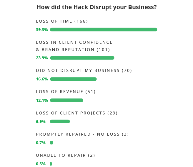 How did the hack disrupt web pro businesses