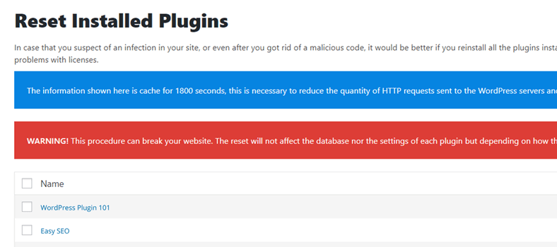 how to reset installed plugins in wordpress