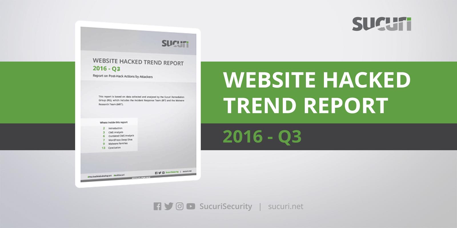 Hacked Website Trend Report 2016 - Q3 Statistics | Sucuri