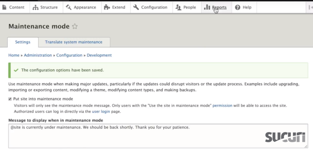 Navigate to Reports - Drupal