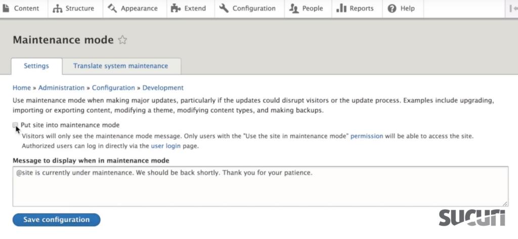 Put site into maintenance mode - Drupal