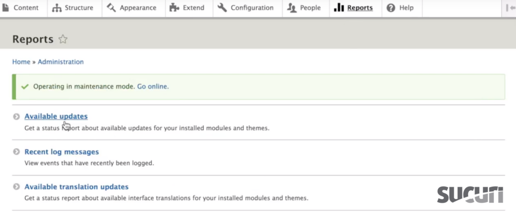 Select Available updates - Drupal