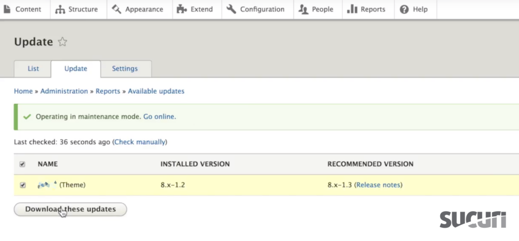 Check the box and click Download these updates - Drupal