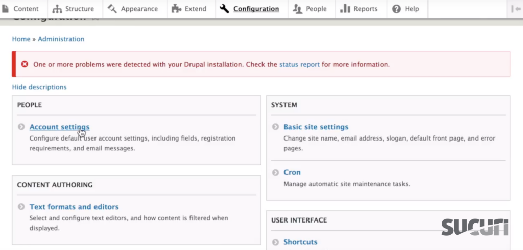 Click on Account Settings under People - Drupal
