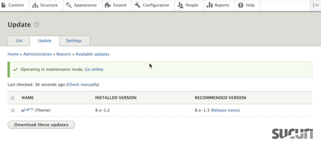 Select the module or theme you would like to update - Drupal