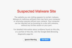 Safari - Suspected malware site